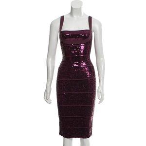 Herve Leger Katherine Bandage Sequin Dress XS